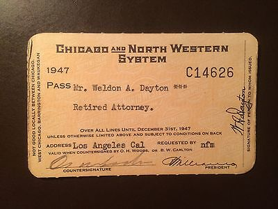 Chicago and North Western Railway System 1947 railroad pass