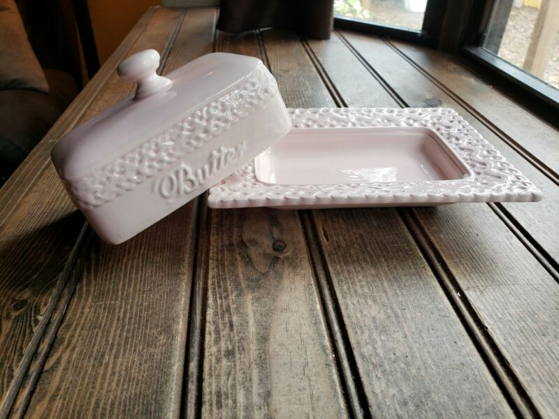 BEAUTIFUL VINTAGE Tea With Alice Ceramic Butter Dish & Lid Pink Collectable