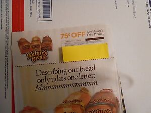 Save 75 cents on one Nature's Own bread product ex 6/30 12 coupons ship free