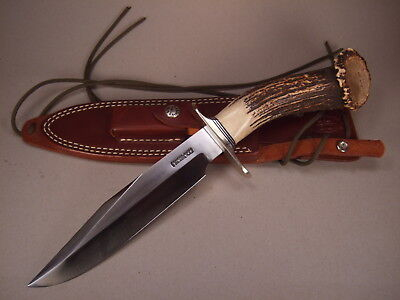 New RANDALL Model #14 KNIFE with CROWN STAG HANDLE CTD Nickel Silver Double Hilt