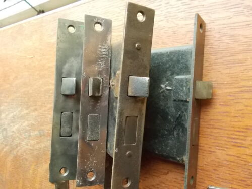 Four Antique Door Mortise Locks with Antiqued Strikers & Key  - Working      #17