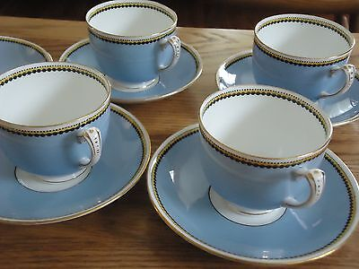 Adderley Ltd.China England 4 Cups 5 Saucers 07674 Blue Yellow Black Trim c1926