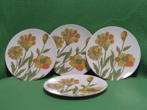 Vtg 4- Melmac Dinner Plates Flower Orange Yellow