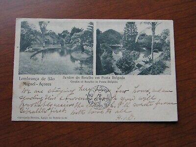 Ponta Delgado Postcard 1904 Postmark Used Garden Scene Botelho