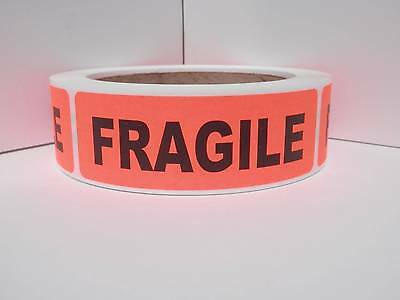 Fragile 1.125x3.5 Rect Warning Stickers Labels Fluorescent Red Bkgd 250rl