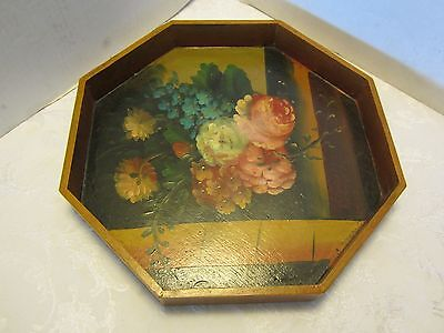 Vintage Hand Painted Floral Wood Tole Tray octagonal Chic Shabby 14¼