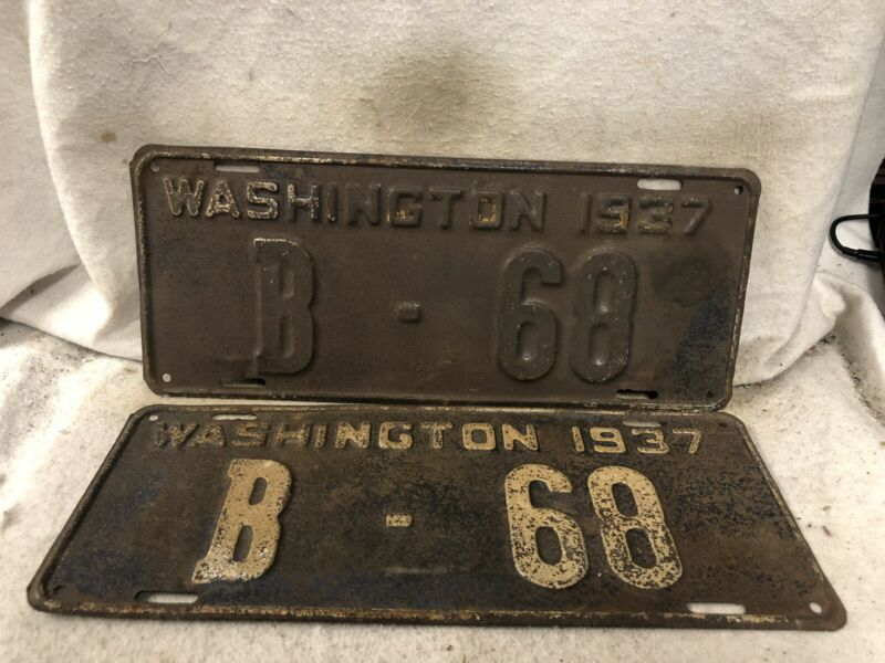 Vintage 1937 Washington License Plate Pair