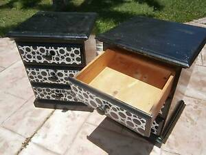 Wooden 2x 3drawer Black Circle Bedsides/Side Tables Rothwell Redcliffe Area Preview