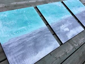 Glittered Turquoise Canvas  Acrylic Painting Modern Decor