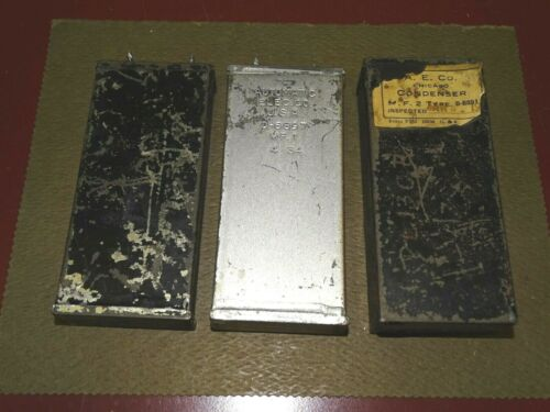 3 Automatic Electric Audio/Phone Condensers, 1, and 2 MFD, Good, Western