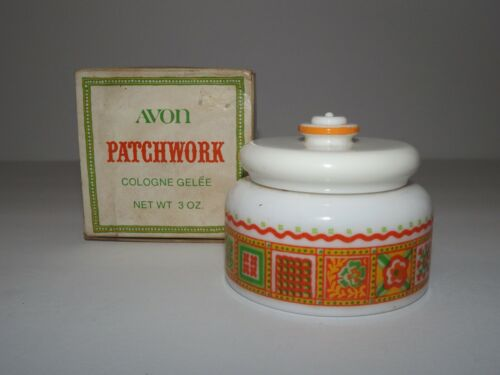 Vintage Avon Patchwork Cologne Gelee New Old Stock Imperfect Box