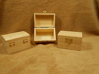 Unfinished Wood Wooden Hinged Chest Boxes Wedding Party Favors Lot 3 (Unfinished Wood Chest)