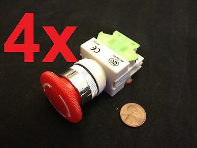 4 Pieces  660v 10a 40mm Red Sign Emergency Stop Switch Push Button Mushroom A5