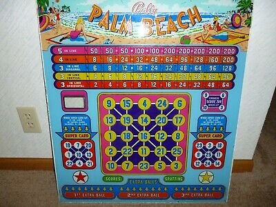 1952 Bally Palm Beach Original Pinball Back Glass  Backglass Bingo Machine