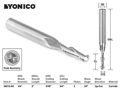 316 Dia. 2 Flute Ball Nose Cnc Router Bit - 14 Shank - Yonico 34212-sc