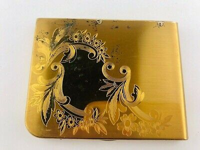 Vintage Elgin American Brass 70mm Cigarette Case Etched Floral Design Gold Tone