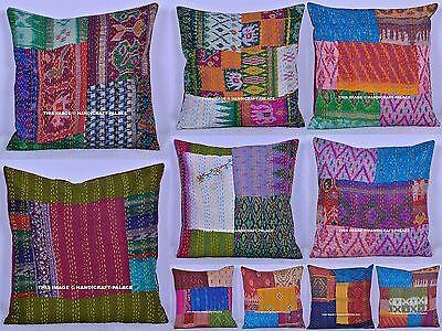 "100 PC Wholesale Lot Kantha Patchwork Silk Cushion Cover Gorgeous Sofa Sham 16"""