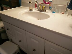 Bathroom countertop cultured marble with faucet white