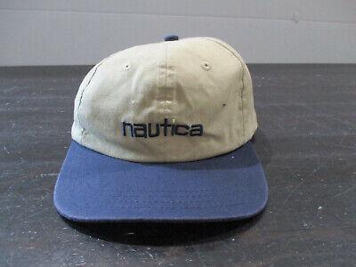 VINTAGE Nautica Hat Cap Strap Back Adjustable Brown Blue Spell Out Mens 90s