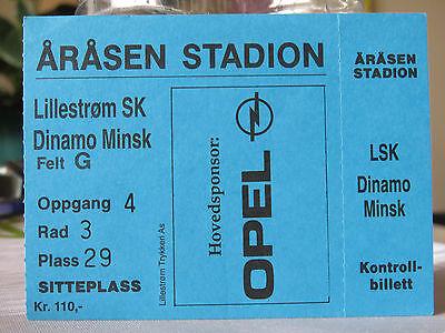 TICKET : LILLESTROM SK - DINAMO MINSK UEFA CUP 1997/1998