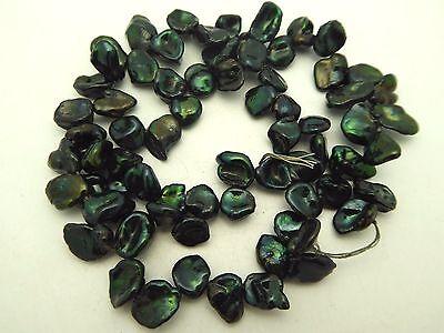 "Freshwater Keishi Pearls Dark Green 7-8mm Baroque Beads 15.5"" Strand High Luster"