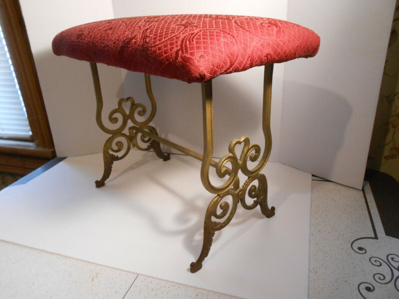 "VINTAGE ART NOUVEAU CAST IRON PADDED VANITY BENCH 16"" X 11 1/2"" X 21 1/4"""
