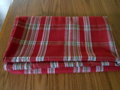 Red Plaid Tablecloth (HOLIDAY METALLIC RED PLAID TABLECLOTH  60