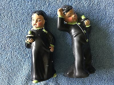 VINTAGE FIGURINE BOY AND GIRL IN PAJAMAS CARRYING A CANDLE 5.5