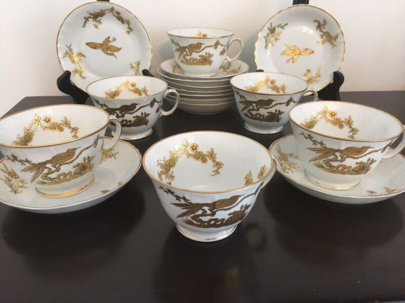 Bernardaud Limoges Queen Elizabeth 6 Coffee Tea Cups/ No Saucers & 11 Fruit Bowl