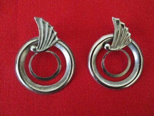 "Large Silver Tone Winged Double Hoops Statement Post Earrings 2 1/2"" Vtg  AZ19"