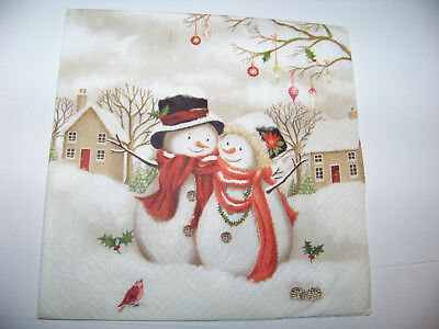 chten süße Schneemänner Schneemann Schneefrau Napkins (Weihnachten Schneemänner)