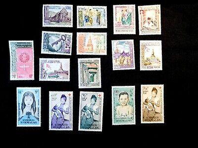 LAOS Stamp Set Scott 56-59, 60-65, 74-76, C31-C34 MNH