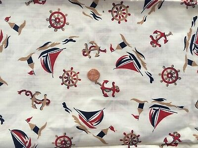 Vintage Fabric 2 yd Nautical Pattern Design Sailboats Anchors Sewing Crafts NICE