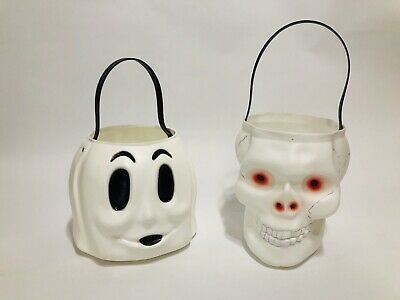 Vtg Empire Halloween SKULL & GHOST Candy Pail Bucket Plastic Blow Mold