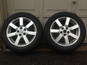 "A set of 2 Nissan 17"" OEM Aluminum Alloy Rims with Tires"