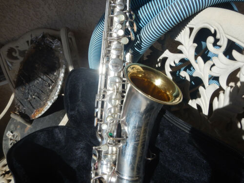 Vintage Silver Plated Alto Saxophone Conn Beautiful Sax Make Offer Free Ship !!