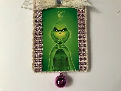 Grinch Christmas ornament, handcrafted wood, light pink,  item #8B - Grinch Items