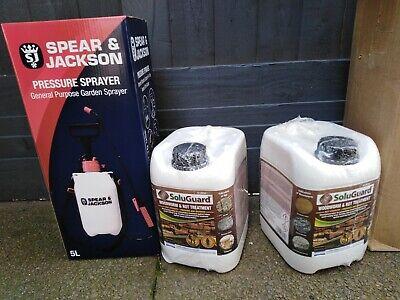 Soluguard Woodworm and Rot Treatment 2 x 5L + Spear & Jackson Sprayer BRAND NEW