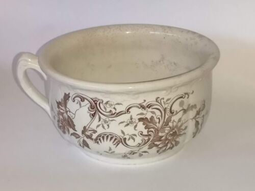 Antique Shelly F. Winkle & Co. Brown & White Floral
