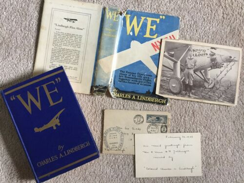 """AIR MAIL LETTER CARRIED by Charles Lindbergh; """"WE"""" book 1st ed; Promo Photo RARE"""