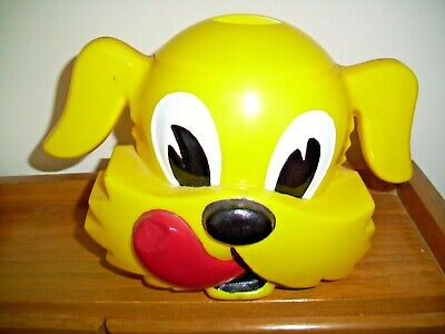 VINTAGE KEN L RATION YELLOW DOG COOKIE JAR AND TOP  F & F MOLD
