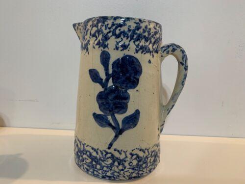 Antique Blue & White Spongeware Pitcher with Floral Decorations