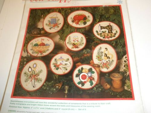 Sew Happy Ornaments Kit Dimensions Set Of 9 Christmas NEW 1994 Crewel 8078.