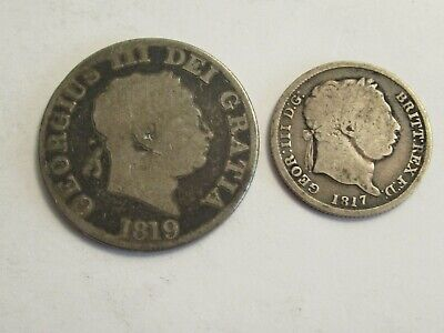 TWO Great Britain Silver coins, 1819 1/2 Crown & 1817 shilling