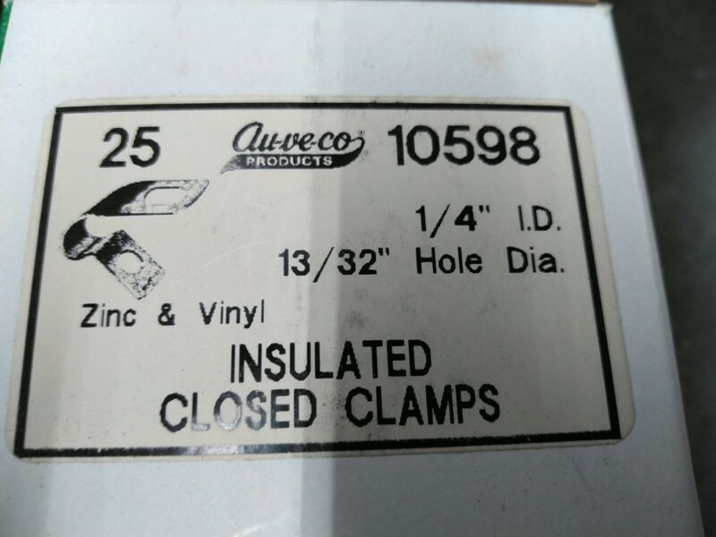 """(Box of 25) Auveco 1/4"""" Insulated Closed Clamp 10598 Wire Clamps Made in USA"""