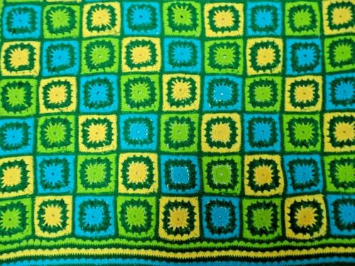 Vintage Granny Square Handmade Crochet Afghan Throw Quilt Blanket Green Yellow
