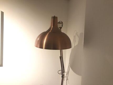 Industrial copper floor lamp