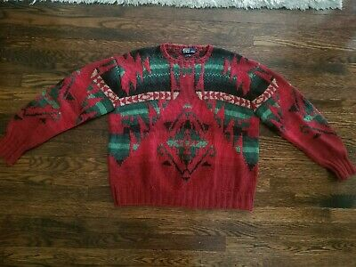 Vintage Polo Ralph Lauren Indian Snowbeach Rare Usa 1992 Aztec Sweater Size XL