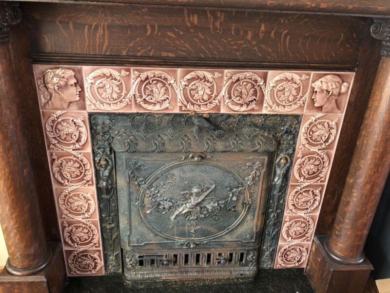 "17 - 6"" Antique Fireplace Art Tile Ceramic Acanthus 1890's Victorian Classical"