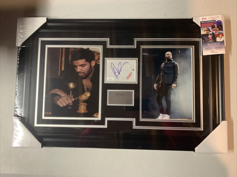 Drake Autograph Signed Cut Auto Photo Collage Framed JSA
